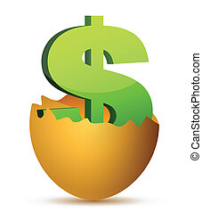 currency symbol inside egg profits concept illustration