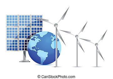 Alternative Energy solar cell, earth, wind turbine...