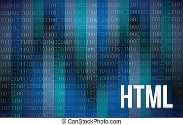 HTML Abstract on Blue Background Digital Tech illustration...