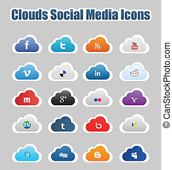 Clouds Social Media Icons 1 - This a set of clouds social...