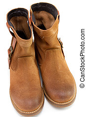 brown boots on white background