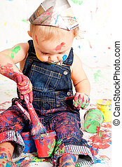 cute little toddler baby colorful creative art paint happy