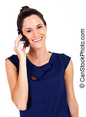 businesswoman talking on cell phone