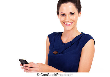 woman sms with cell phone