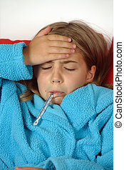 Flu - Sick child with thermometer and hand on her forehead