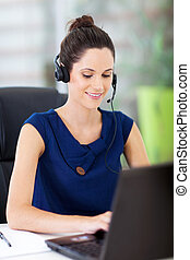 online support operator working - beautiful young online...