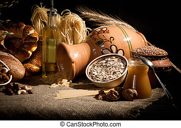 healthy meal with bread , cereals - healthy meal with bread...