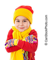 Smiling girl in winter clothes