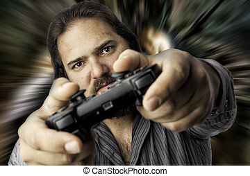 Isolated man with video game controller - Young white male...