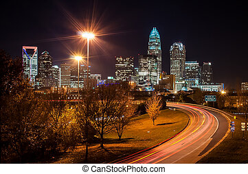 Skyline of uptown Charlotte, North Carolina at night