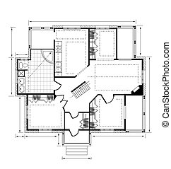 a country house - Plan a country house on a white background