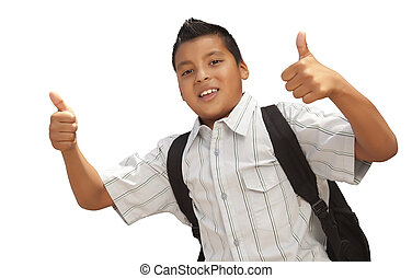 Happy Young Hispanic School Boy with Thumbs Up on White