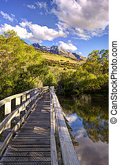 The view of the mountains from boardwalk at Glenorchy Lagoon...