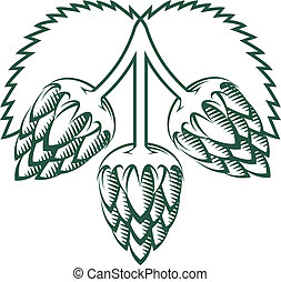 Tri-Hop Emblem - Stylized emblem featuring three hop cloves...