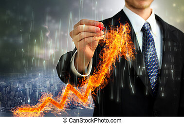 Businessman with Flaming Arrow - Businessman with a Flaming...