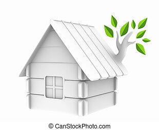 Nature house - 3d harmless house with an evolved branch on a...