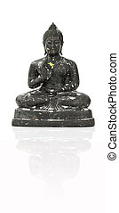 black buddha over white background.