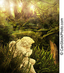 Angel in garden - Classical cherub angel in mystical garden...