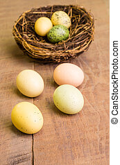 Wooden table with birds nest and eggs vertical