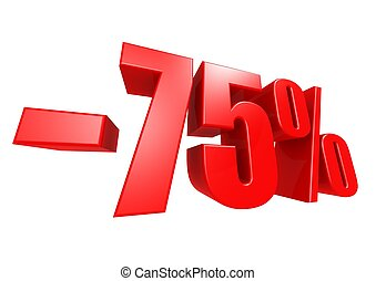 Minus 75 percent - Rendered artwork with white background