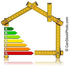Energy Saving - House Meter Tool - Wooden meter tool forming...