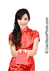 pretty women with cheongsam ,In Chinese new year a red...