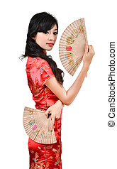 pretty women with Chinese traditional dress Cheongsam and...