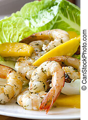 Shrimp Salad with Mango - Healthy salad of shrimp or prawns,...