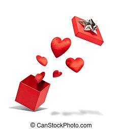 aberta, PRESENTE, caixa, voando, corações