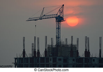 construction - The building construction with sunset