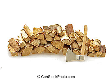 Wood blocks and an ax on a white background
