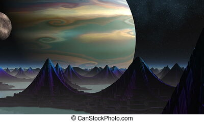 City of aliens and two planets - On a planet surface among...