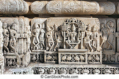 Ancient Sun Temple in Ranakpur Jain Temple Carving Ranakpur,...