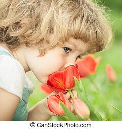 criança, cheirando, tulipa