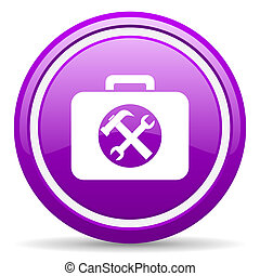 toolkit violet glossy icon on white background - violet...