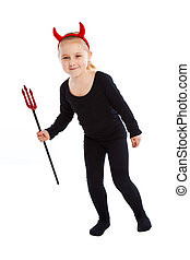 Little girl in devil costume Studio shot