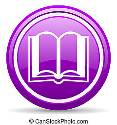book violet glossy icon on white background - violet glossy...