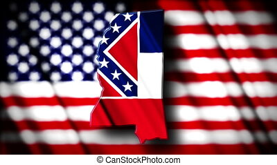 Mississippi 03 - Flag of Mississippi in the shape of...