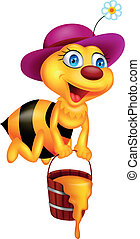 Funny bee cartoon - Vector illustration of funny bee with...