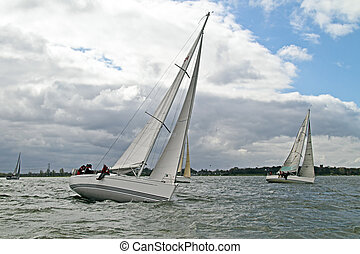 sailing on the IJsselmeer in the Nethrlands