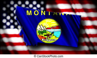 Montana 03 - Flag of Montana in the shape of Montana state...