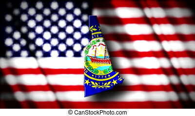 New Hampshire 03 - Flag of New Hampshire in the shape of New...