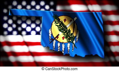 Oklahoma 03 - Flag of Oklahoma in the shape of Oklahoma...