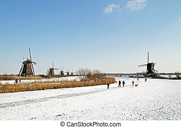 Ice skating at Kinderdijk in the Netherland