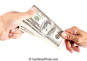 hand with dollar - object on white - dollar in hand