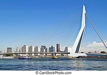 Erasmus bridge in Rotterdam harbor the Netherlands
