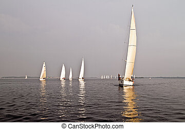 Sailing on the IJsselmeer in the Netherlands