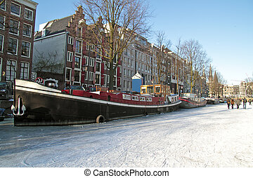 Winter in Amsterdam the Netherlands - Amsterdam innercity in...