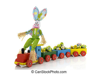 easter bunny with toy train