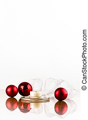 red bulb white ribbon vertikal - Christmas decoration of red...